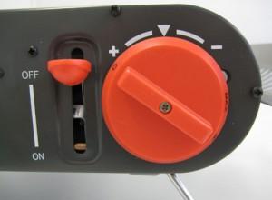 Über einen Drehregler wird die Gaszufuhr gesteuert.