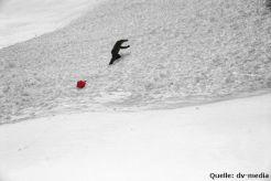 Zur Ortung des Verschütteten in der Lawine kommt der Avalanche Ball immer talwärts des Verschütteten zum Stillstand